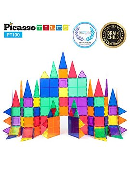Picasso Tiles 100 Piece Set 100pcs Magnet Building Tiles Clear Magnetic 3 D Building Blocks Construction Playboards, Creativity Beyond Imagination, Inspirational, Recreational, Educational Conventional by Picasso Tiles