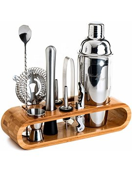Mixology Bartender Kit: 10 Piece Bar Tool Set With Stylish Bamboo Stand   Perfect Home Bartending Kit And Cocktail Shaker Set For An Awesome Drink Mixing Experience   Exclusive Cocktail Recipes Bonus by Mixology & Craft