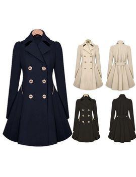 Women Slim Winter Warm Long Coat Double Breasted Trench Parka Jacket Overcoat by Ebay Seller