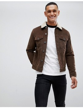 New Look Corduroy Jacket With Fleece Lining In Brown by Surprise