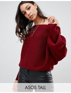 Asos Design Tall Off Shoulder Sweater In Ripple Stitch by Asos Design