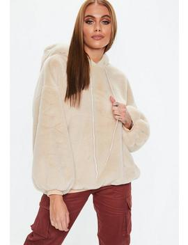 Camel Faux Fur Hoodie by Missguided