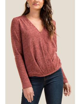 Isla Two Toned Surplus Knit Top by Francesca's