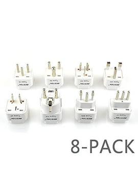 Bestek Grounded Universal Worldwide Travel Plug Adapter Usa To Worldwide Country Travel Plug Adapter Converter Set For Italy, Uk, India, Australia, Hk, Japan, Germany, Israel   8 Packs by Bestek