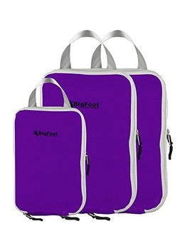 Bigfoot Outdoor Products Packing Compression Cubes (3 Pack) Travel Accessories Organizer (Purple) by Bigfoot Outdoor Products