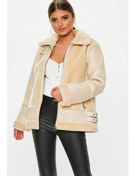 Sand Faux Fur Ultimate Aviator Jacket by Missguided
