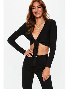 Black Tie Front Long Sleeve Knitted Crop Top by Missguided