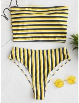 Zaful Striped Bandeau High Cut Bikini Set   Multi M by Zaful