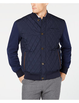 Men's Quilted Bomber Jacket, Created For Macy's by Tasso Elba