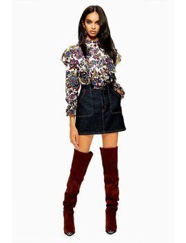 Indigo Contrast Denim Skirt by Topshop