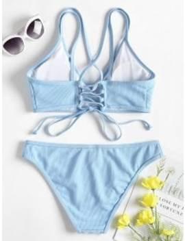 Cross Back Lace Up Bikini Set   Light Sky Blue M by Zaful