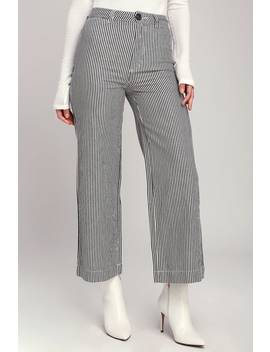 Old Mate Navy Blue Striped Wide Leg Pants by Rolla's