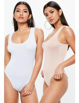 White And Nude 2 Pack Racer Bodysuits by Missguided