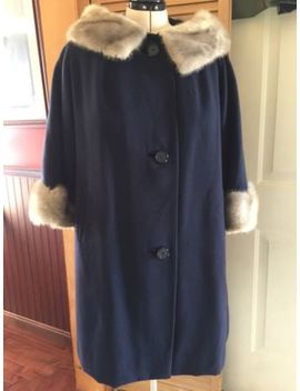 Womens Wool Coat Anglo Fabrics Xxl Blue Swing Fur Collar Cuffs Nylon Lining Vtg by Ebay Seller
