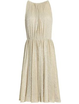 Pleated Metallic Woven Dress by Halston Heritage
