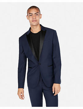 Slim Navy Wool Blend Performance Stretch Tuxedo Jacket by Express