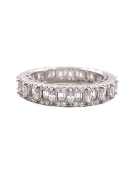 Rhodium Plated Sterling Silver Cz Eternity Band Ring by Savvy Cie