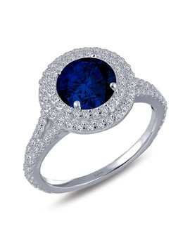 Platinum Plated Sterling Silver Simulated Diamond & Lab Grown Blue Sapphire Halo Ring by La Fonn