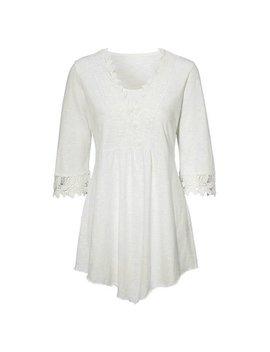 Ak Fashion Women's Plus Size Irregular 3/4 Sleeve V Neck Hollow Out Lace Blouse Shirts Tops by Ak Fashion