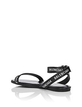 Logo Leather Ankle Wrap Sandals by Balenciaga