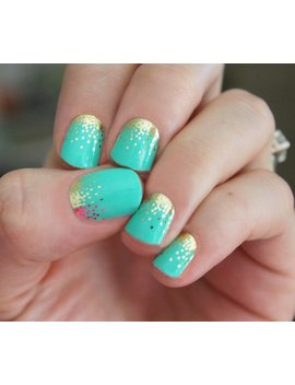 Mint Sparkle Nail Wraps by Etsy