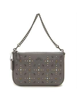Nwt Coach 22867 Nolita 22 Heather Grey Prairie Rivets Wristlet Bag Leather $225 by Coach