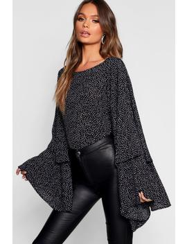 Spot Print Exaggerated Sleeve Top by Boohoo