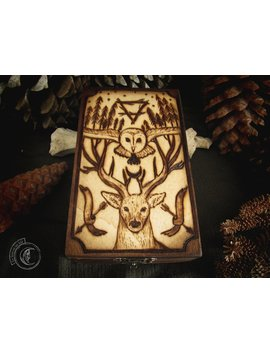 Wood Burned Box   The Forest Spirits   Tarot Series by Etsy