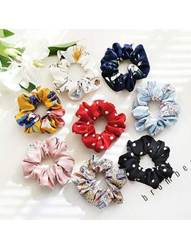 Kecuco 8 Colors Soft Polyester Blended Fabric Flower Scrunchies Ponytail Holder Elastic Hair Bands, Including 6 Pcs Assorted Colors Flower Hair... by Kecuco