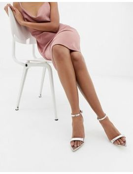 Public Desire Ace Silver Mirror Barely There Heeled Sandals by Public Desire