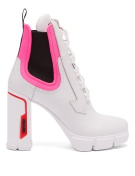 Leather And Neoprene Ankle Boots by Prada