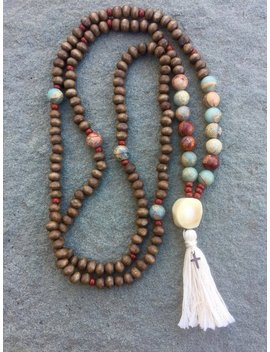 Mala  Christian Prayer Beads  Wood, White Coral, African Opal, Sterling Silver Cross by Etsy