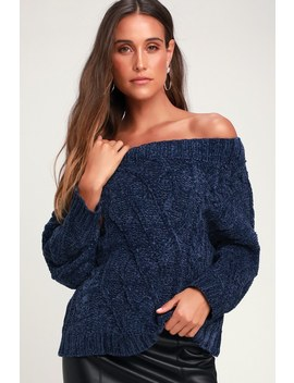 Chenille'd It Navy Blue Yellow Off The Shoulder Chenille Sweater by Lulus