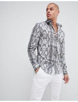 Asos Design Stretch Slim Snakeskin Printed Shirt In Gray by Asos Design