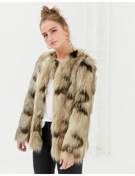 New Look Faux Fur Jacket In Brown Pattern by New Look