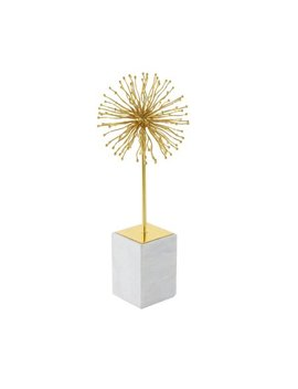 Decmode Modern 19 Inch Gold Iron Starburst Sculpture With White Marble Base, Gold by Dec Mode