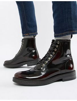 Walk London Wolf Lace Up Boots In High Shine Burgundy by Walk London