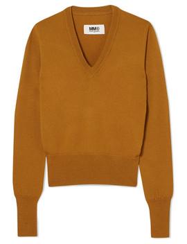 Vinyl Trimmed Wool Sweater by Mm6 Maison Margiela