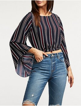 Stripe Bell Sleeve Crop Top by Charlotte Russe