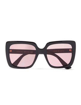 Oversized Crystal Embellished Square Frame Acetate Sunglasses by Gucci