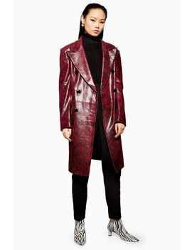 Leather Snake Print Coat by Topshop