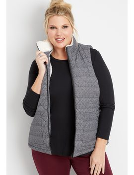 Plus Size Herringbone Puffer Vest by Maurices