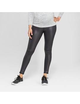 Maternity Faux Front Leather Active Leggings With Crossover Panel   Isabel Maternity By Ingrid & Isabel™ Black by Isabel Maternity By Ingrid & Isabel