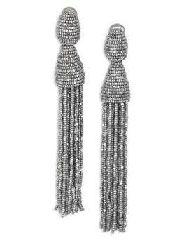 Long Beaded Tassel Clip On Earrings by Oscar De La Renta