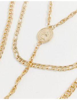Asos Design – Guldfärgat Halsband Med Flera Kedjor Och Myntsmycken by Asos