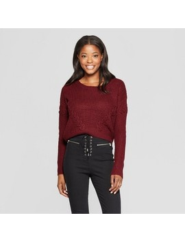 Women's Long Sleeve Lace Up Detail Textured Pullover Sweater   Almost Famous (Juniors') Burgundy by Almost Famous