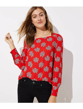 Petite Bouquet Square Neck Blouse by Loft