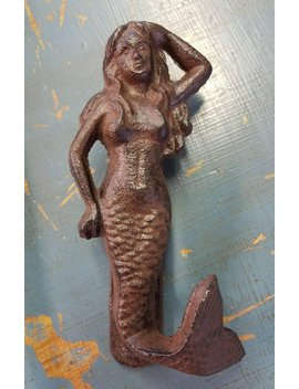 "Cast Iron 1930's Reproduction  Mermaid Doorknocker,  Outdoor Or Indoor. 8"" Tall X 3"".Wide. by Etsy"