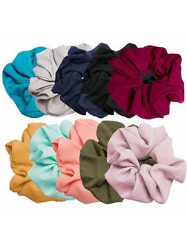 Aoprie 10 Pack Hair Scrunchies Linen Scrunchie Set Vintage Hair Bands Ties For Women Girls,10 Colors by Aoprie