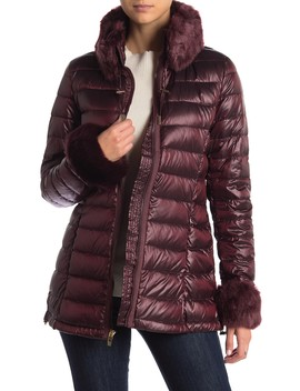 Faux Fur Trimmed Lightweight Down Jacket by Via Spiga